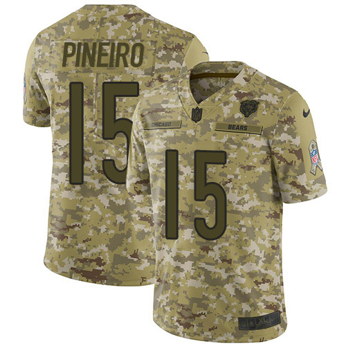 Nike Bears #15 Eddy Pineiro Camo Youth Stitched NFL Limited 2018 Salute To Service Jersey