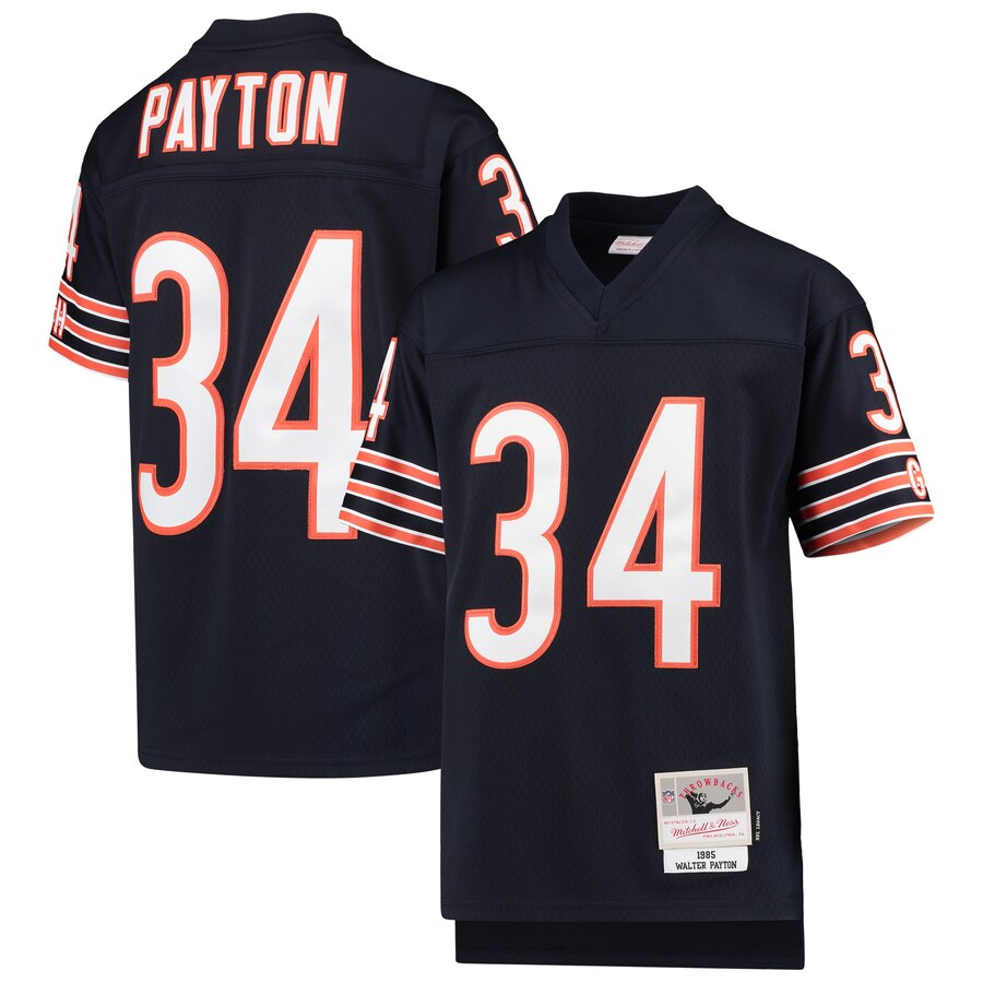 Youth Chicago Bears #34 Walter Payton Mitchell & Ness Navy 1985 Legacy Retired Player Jersey