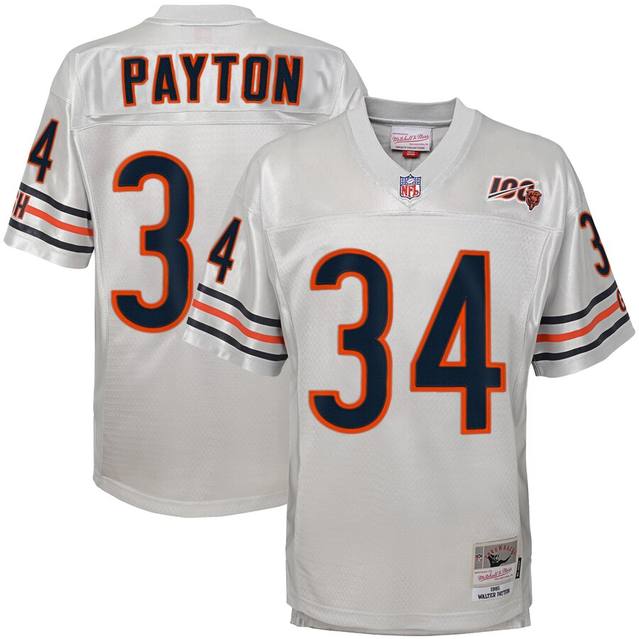 Youth Chicago Bears #34 Walter Payton Mitchell & Ness Platinum 100th Season Retired Player Legacy Jersey