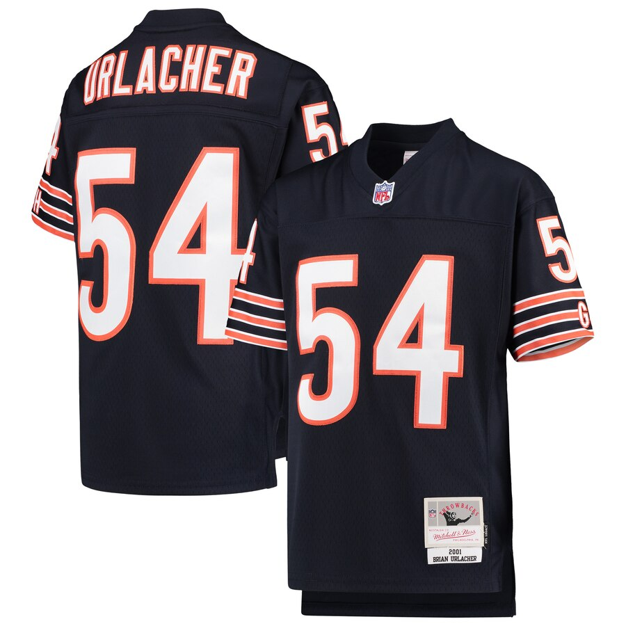 Youth Chicago Bears #54 Brian Urlacher Mitchell & Ness Navy 2001 Legacy Retired Player Jersey