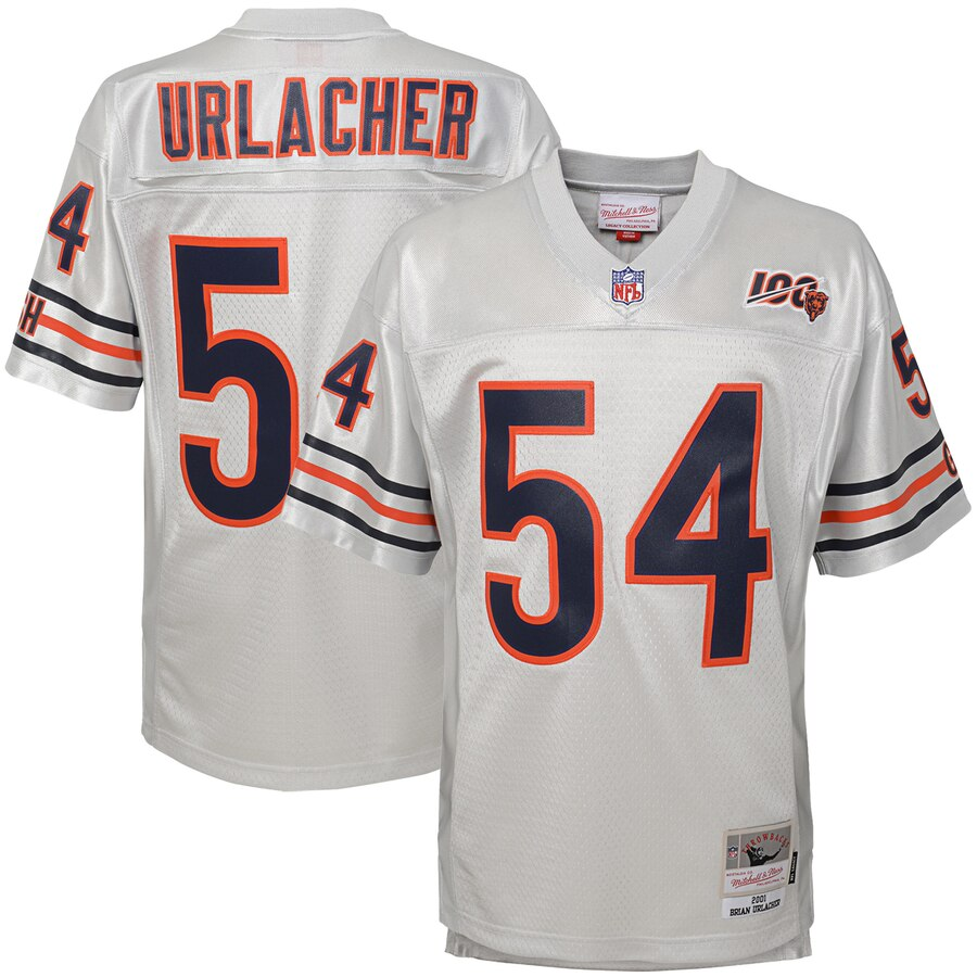Youth Chicago Bears #54 Brian Urlacher Mitchell & Ness Platinum 100th Season Retired Player Legacy Jersey