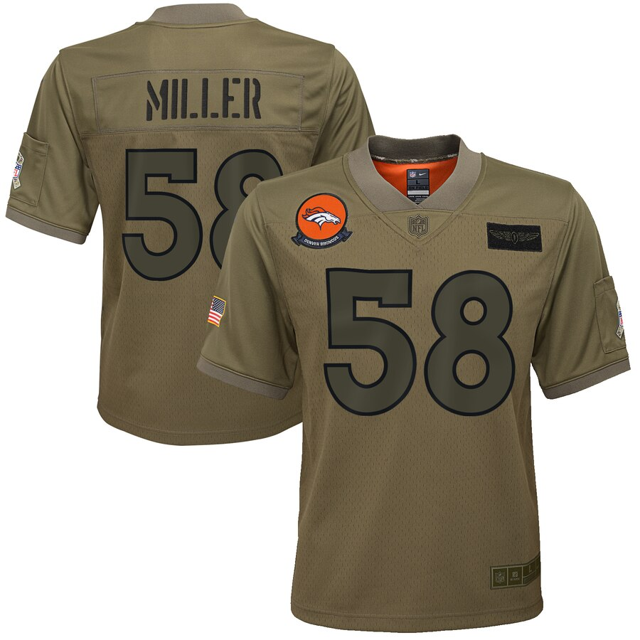Youth Denver Broncos #58 Von Miller Nike Camo 2019 Salute to Service Game Jersey