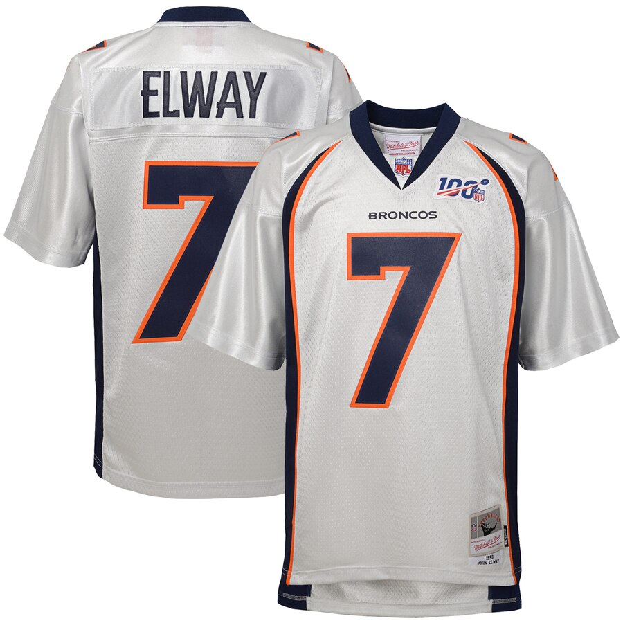 Youth Denver Broncos #7 John Elway Mitchell & Ness Platinum NFL 100 Retired Player Legacy Jersey