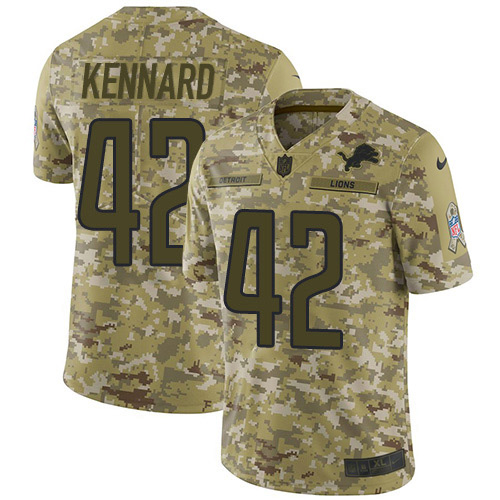 Nike Lions #42 Devon Kennard Camo Youth Stitched NFL Limited 2018 Salute to Service Jersey