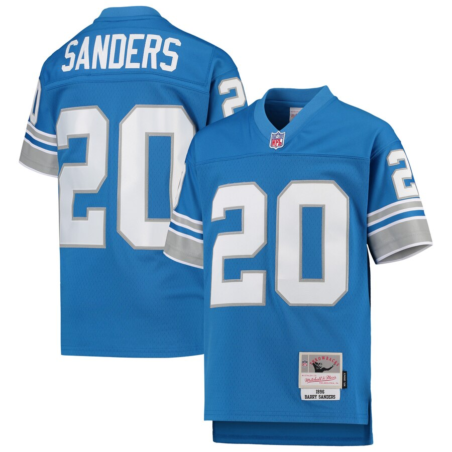 Youth Detroit Lions #20 Barry Sanders Mitchell & Ness Blue 1996 Legacy Retired Player Jersey