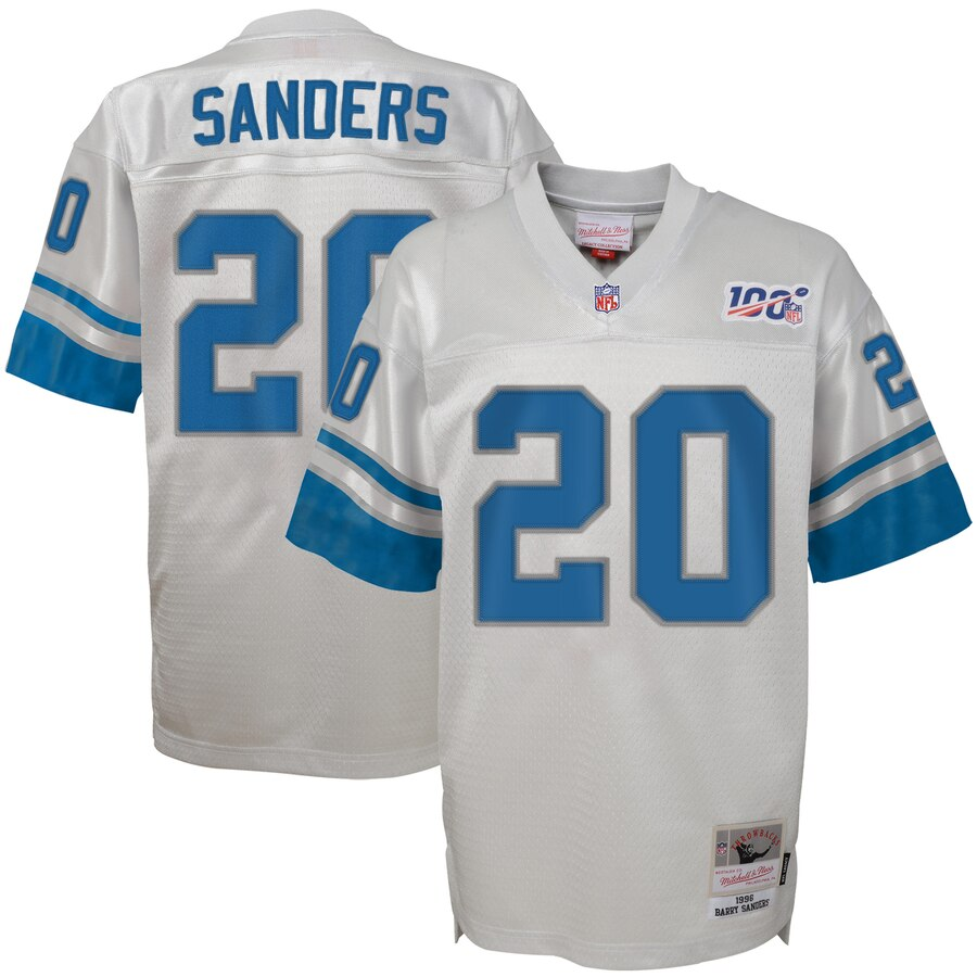 Youth Detroit Lions #20 Barry Sanders Mitchell & Ness Platinum NFL 100 Retired Player Legacy Jersey