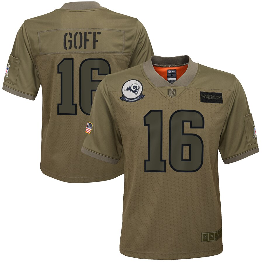 Youth Los Angeles Rams #16 Jared Goff Nike Camo 2019 Salute to Service Game Jersey