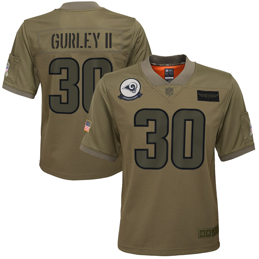 Youth Los Angeles Rams #30 Todd Gurley II Nike Camo 2019 Salute to Service Game Jersey