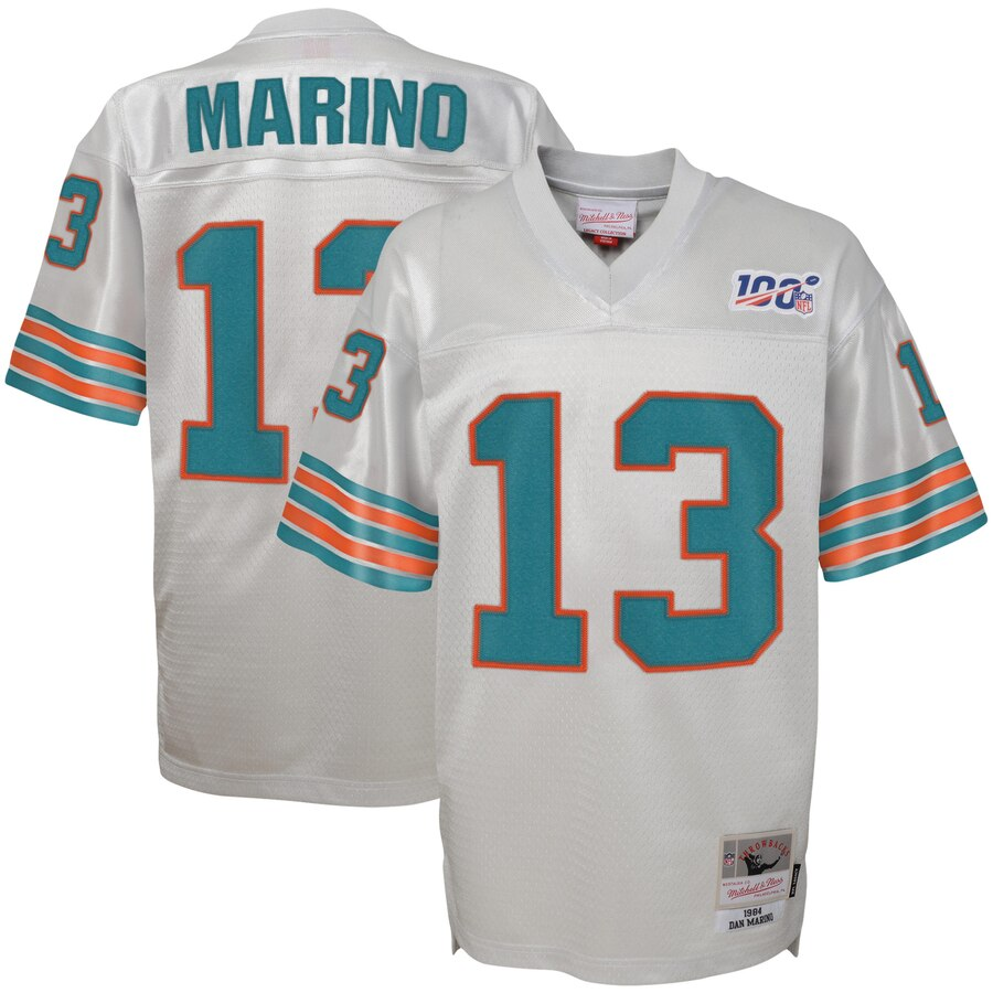 Youth Miami Dolphins #13 Dan Marino Mitchell & Ness Platinum NFL 100 Retired Player Legacy Jersey