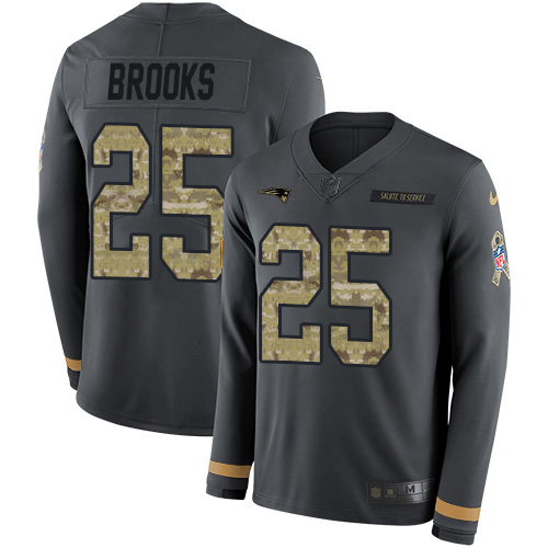 Nike Patriots #25 Terrence Brooks Anthracite Salute to Service Youth Stitched NFL Limited Therma Long Sleeve Jersey