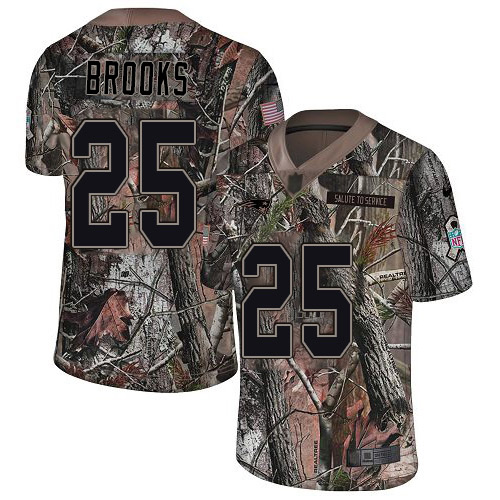 Nike Patriots #25 Terrence Brooks Camo Youth Stitched NFL Limited Rush Realtree Jersey