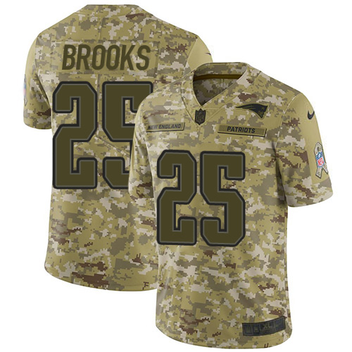 Nike Patriots #25 Terrence Brooks Camo Youth Stitched NFL Limited 2018 Salute to Service Jersey