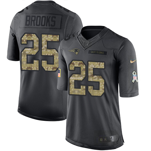 Nike Patriots #25 Terrence Brooks Black Youth Stitched NFL Limited 2016 Salute to Service Jersey