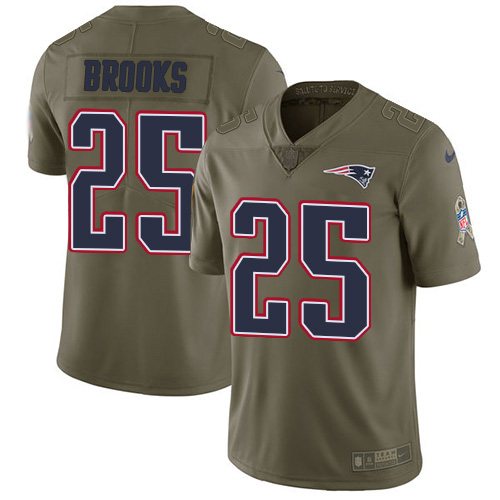 Nike Patriots #25 Terrence Brooks Olive Youth Stitched NFL Limited 2017 Salute to Service Jersey