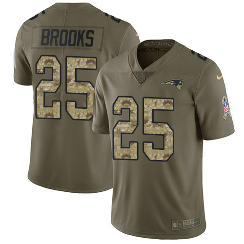 Nike Patriots #25 Terrence Brooks Olive/Camo Youth Stitched NFL Limited 2017 Salute to Service Jersey