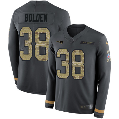 Nike Patriots #38 Brandon Bolden Anthracite Salute to Service Youth Stitched NFL Limited Therma Long Sleeve Jersey