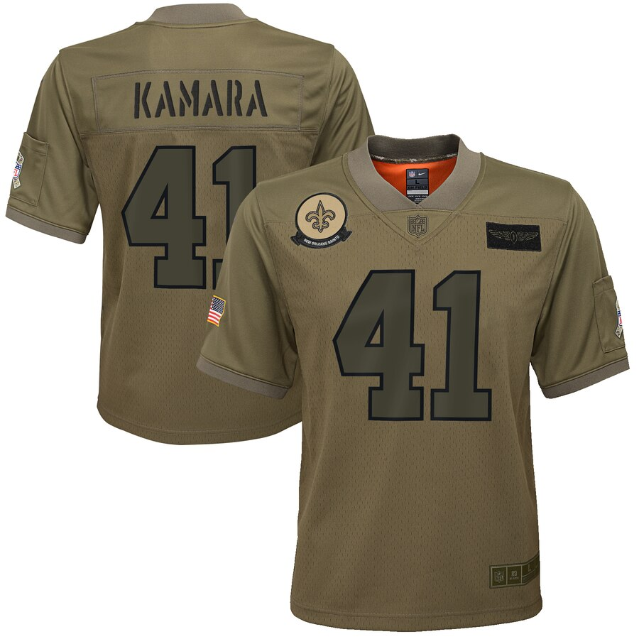 Youth New Orleans Saints #41 Alvin Kamara Nike Camo 2019 Salute to Service Game Jersey