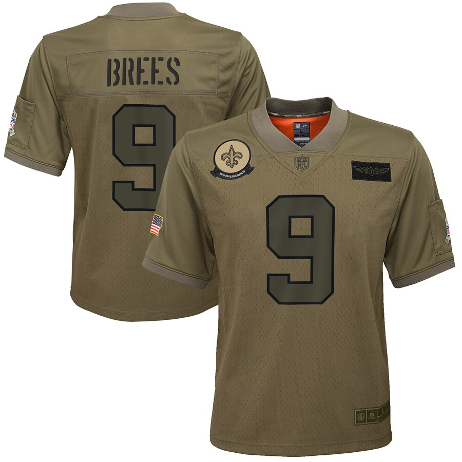 Youth New Orleans Saints #9 Drew Brees Nike Camo 2019 Salute to Service Game Jersey