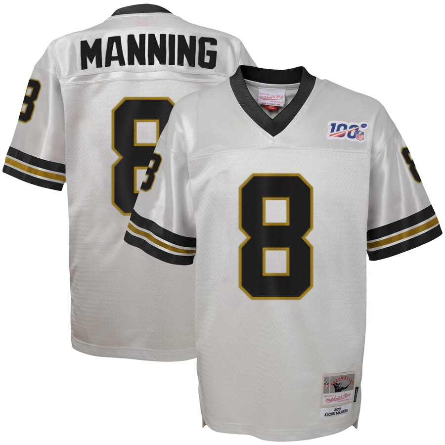 Youth New Orleans Saints #8 Archie Manning Mitchell & Ness Platinum NFL 100 Retired Player Legacy Jersey