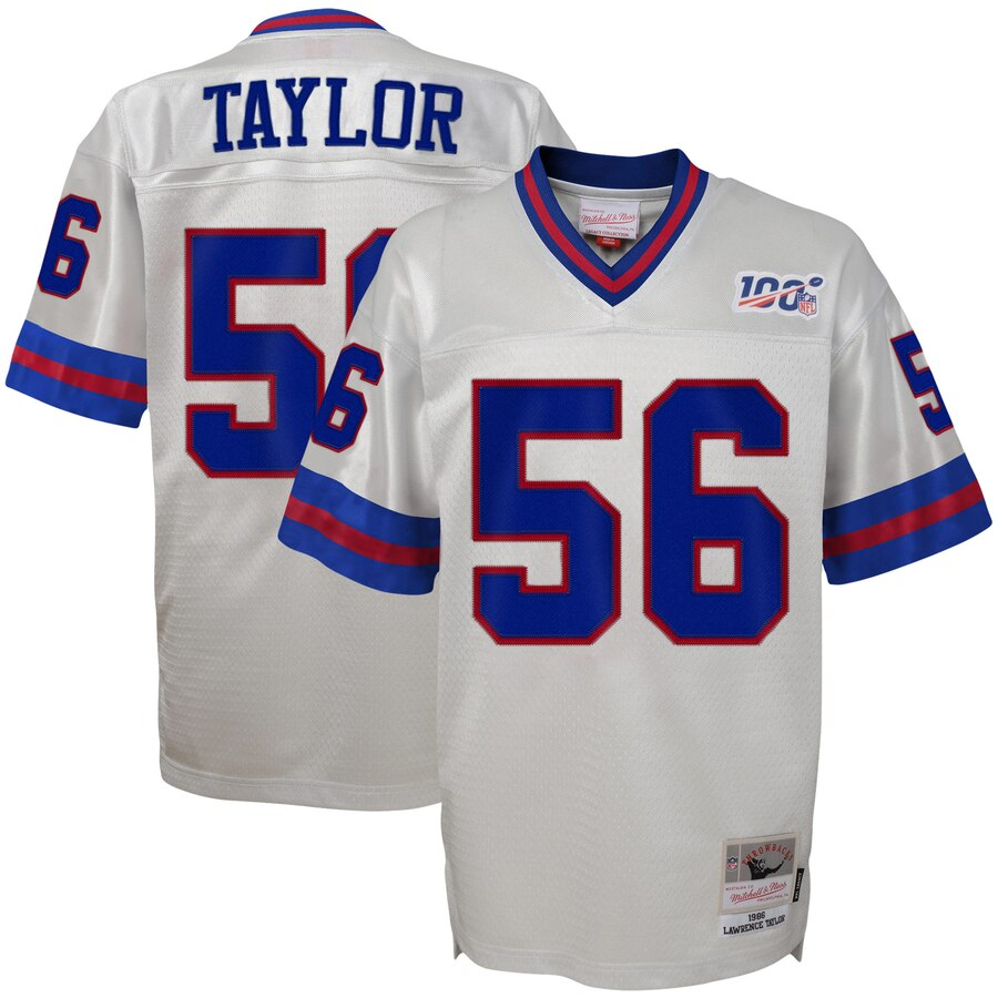 Youth New York Giants #56 Lawrence Taylor Mitchell & Ness Platinum NFL 100 Retired Player Legacy Jersey
