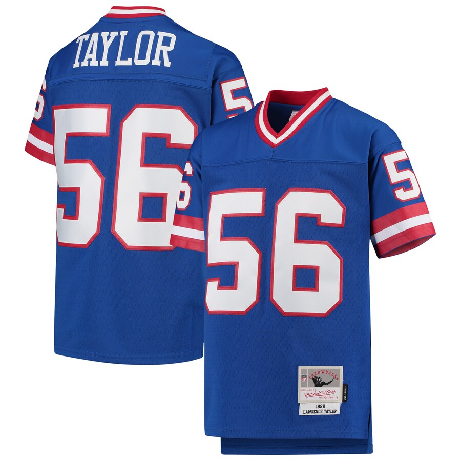Youth New York Giants #56 Lawrence Taylor Mitchell & Ness Royal 1986 Legacy Retired Player Jersey