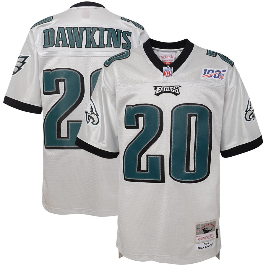 Youth Philadelphia Eagles #20 Brian Dawkins Mitchell & Ness Platinum NFL 100 Retired Player Legacy Jersey