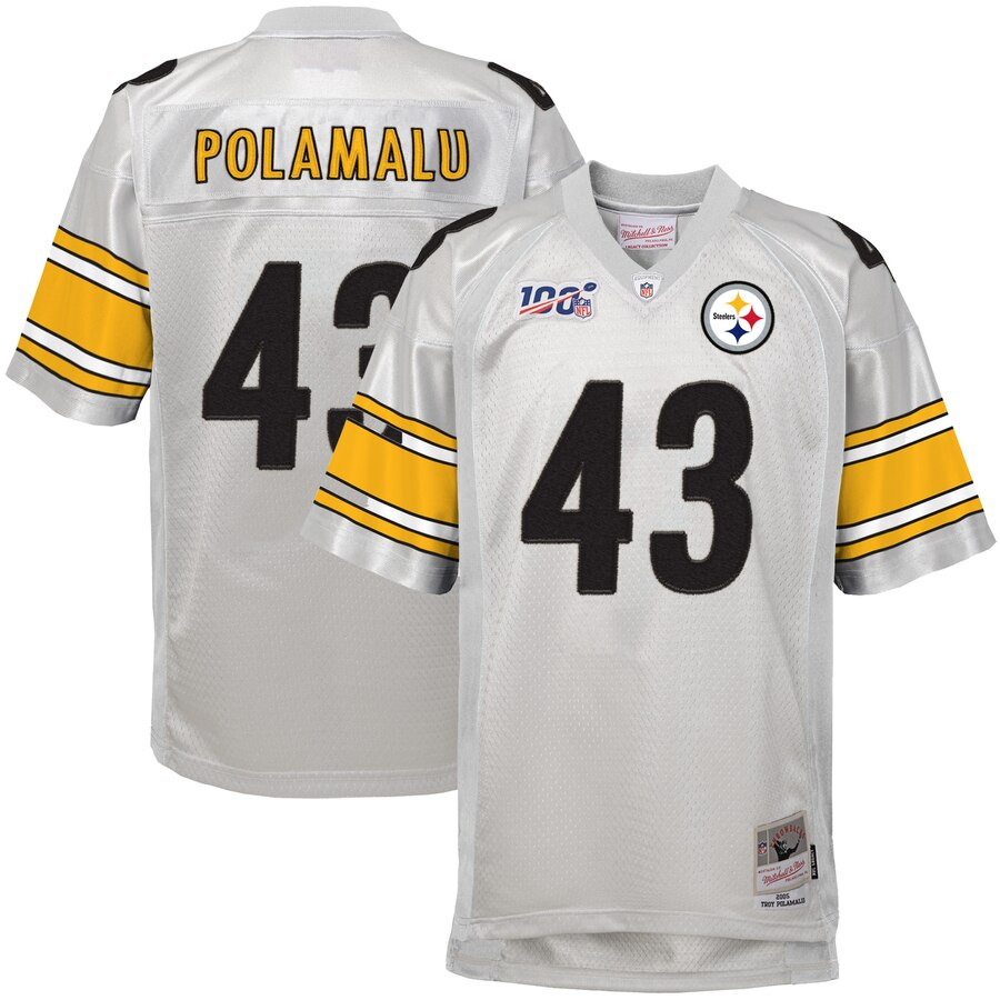 Youth Pittsburgh Steelers #43 Troy Polamalu Mitchell & Ness Platinum NFL 100 Retired Player Legacy Jersey