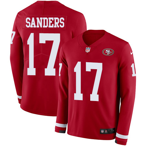 Nike 49ers #17 Emmanuel Sanders Red Team Color Youth Stitched NFL Limited Therma Long Sleeve Jersey