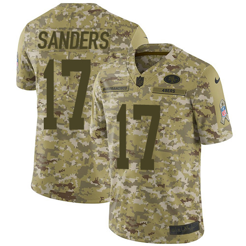 Nike 49ers #17 Emmanuel Sanders Camo Youth Stitched NFL Limited 2018 Salute to Service Jersey