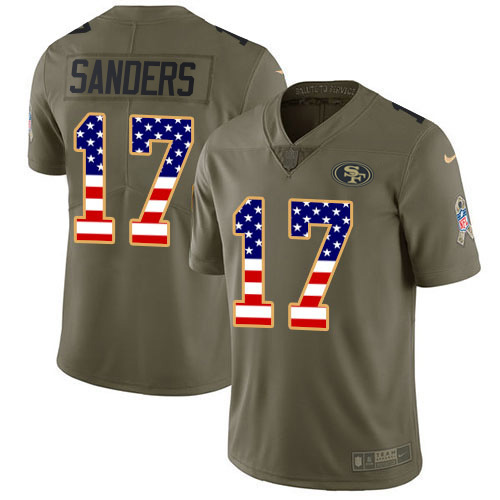 Nike 49ers #17 Emmanuel Sanders Olive/USA Flag Youth Stitched NFL Limited 2017 Salute to Service Jersey