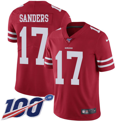 Nike 49ers #17 Emmanuel Sanders Red Team Color Youth Stitched NFL 100th Season Vapor Limited Jersey