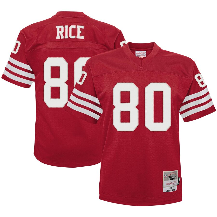Youth San Francisco 49ers #80 Jerry Rice Mitchell & Ness Scarlet 1990 Legacy Retired Player Jersey