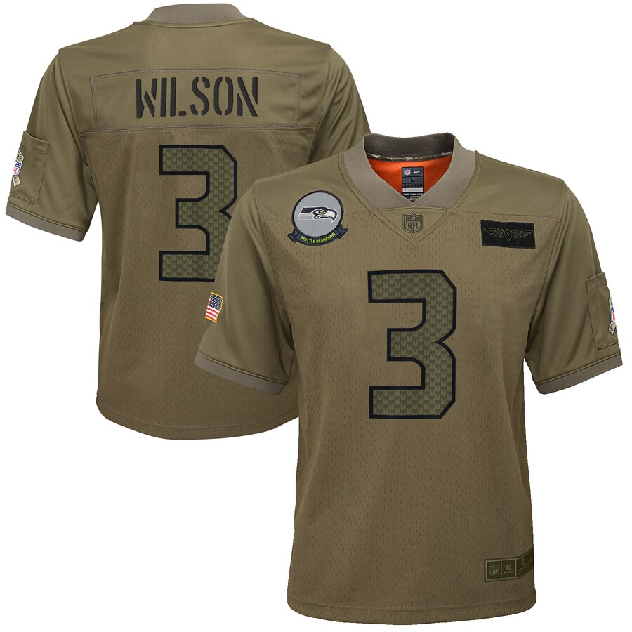 Youth Seattle Seahawks #3 Russell Wilson Nike Camo 2019 Salute to Service Game Jersey