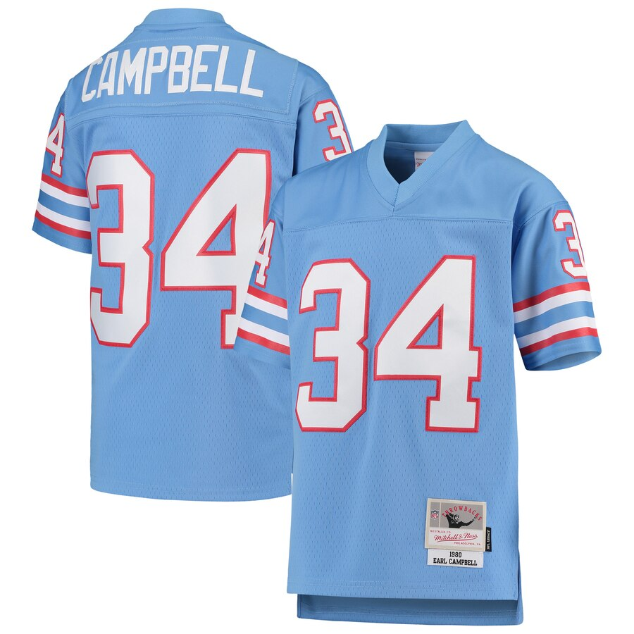Youth Houston Oilers #34 Earl Campbell Mitchell & Ness Light Blue 1980 Gridiron Classic Legacy Retired Player Jersey