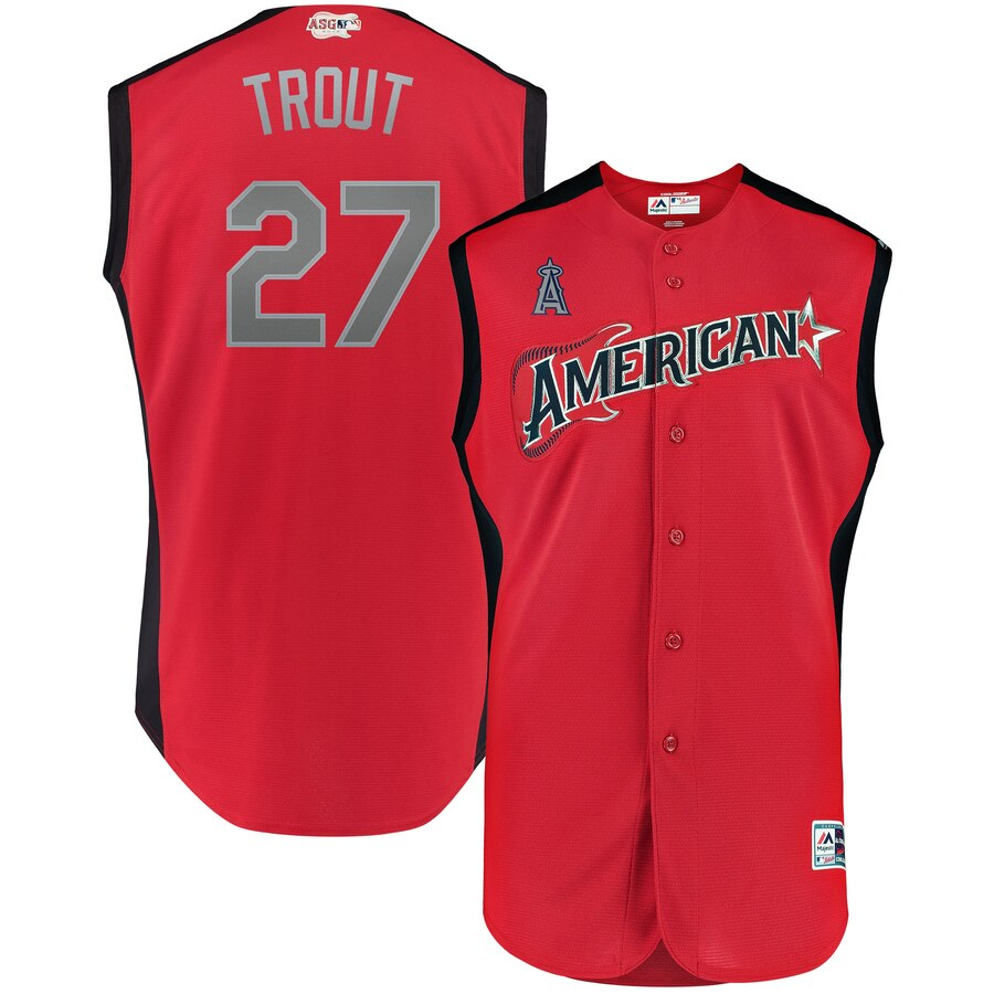 American League #27 Mike Trout Majestic Youth 2019 MLB All-Star Game Player Jersey Red