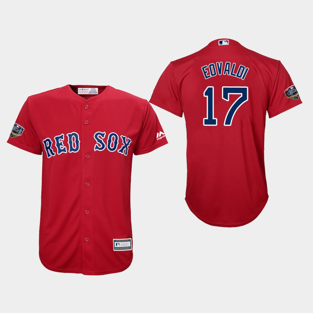 Red Sox #17 Nathan Eovaldi Red Cool Base 2018 World Series Stitched Youth MLB Jersey