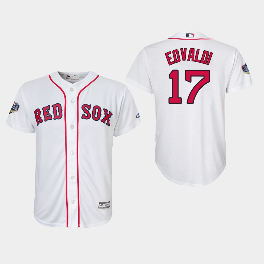 Red Sox #17 Nathan Eovaldi White Cool Base 2018 World Series Stitched Youth MLB Jersey
