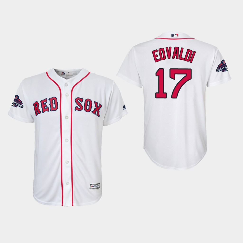 Red Sox #17 Nathan Eovaldi White Cool Base 2018 World Series Champions Stitched Youth MLB Jersey
