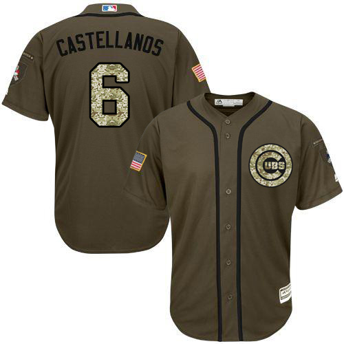 Cubs #6 Nicholas Castellanos Green Salute to Service Stitched Youth MLB Jersey