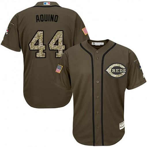 Reds #44 Aristides Aquino Green Salute to Service Stitched Youth MLB Jersey