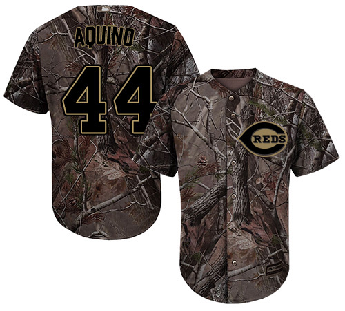 Reds #44 Aristides Aquino Camo Realtree Collection Cool Base Stitched Youth MLB Jersey