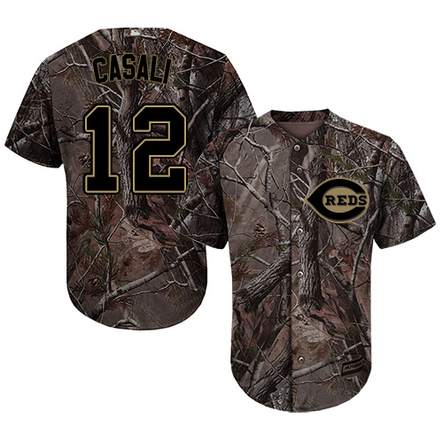 Reds #12 Curt Casali Camo Realtree Collection Cool Base Stitched Youth MLB Jersey