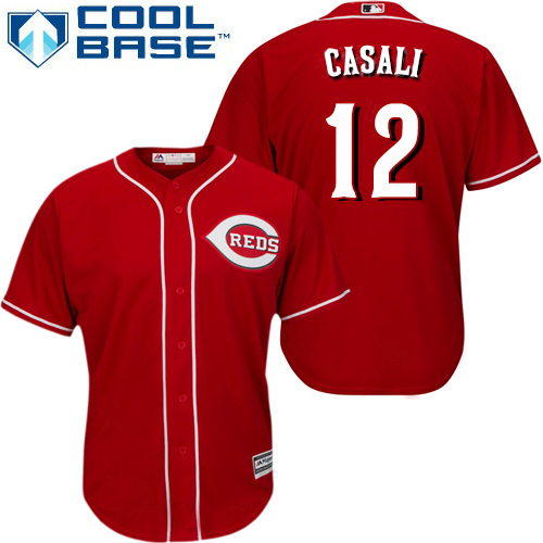 Reds #12 Curt Casali Red New Cool Base Stitched Youth MLB Jersey