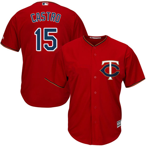 Twins #15 Jason Castro Red Cool Base Stitched Youth MLB Jersey