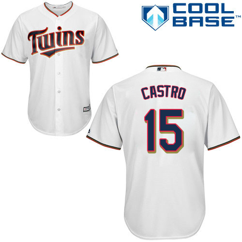 Twins #15 Jason Castro White Cool Base Stitched Youth MLB Jersey