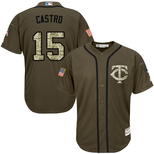 Twins #15 Jason Castro Green Salute to Service Stitched Youth MLB Jersey