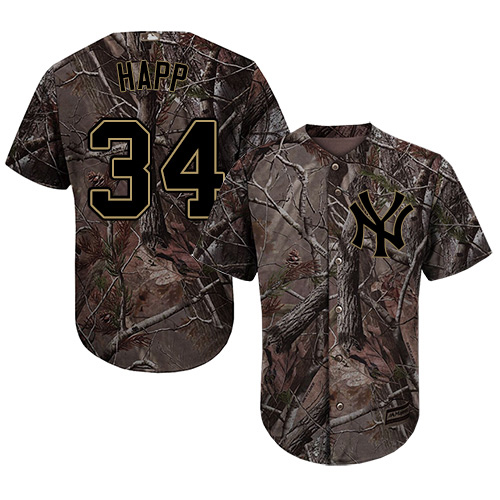 Yankees #34 J.A. Happ Camo Realtree Collection Cool Base Stitched Youth MLB Jersey