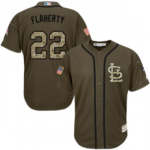 Cardinals #22 Jack Flaherty Green Salute to Service Stitched Youth MLB Jersey