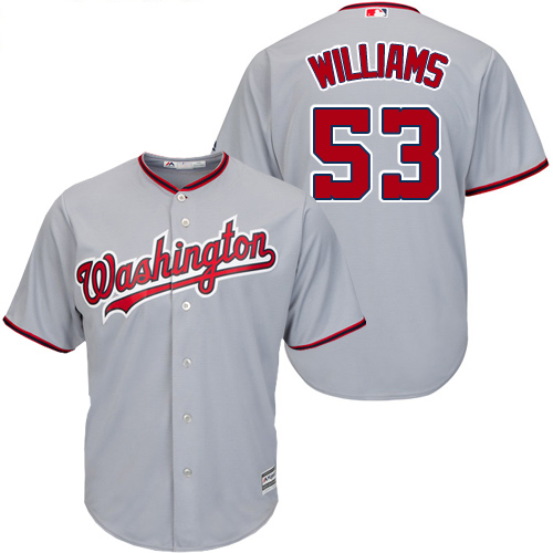 Nationals #53 Austen Williams Grey New Cool Base Stitched Youth MLB Jersey