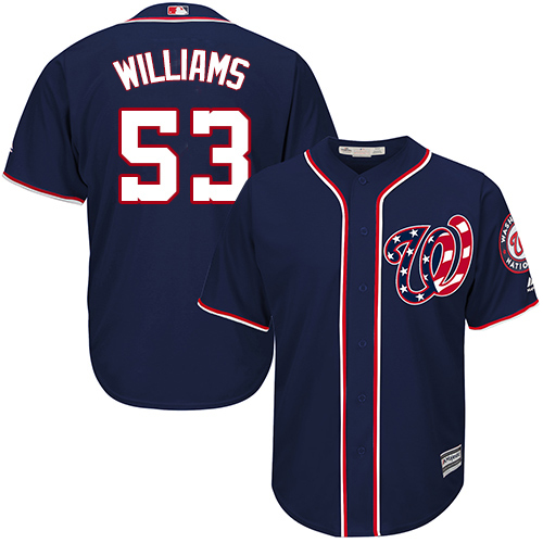 Nationals #53 Austen Williams Navy Blue New Cool Base Stitched Youth MLB Jersey
